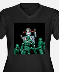 Army men and Giant Robot. Plus Size T-Shirt