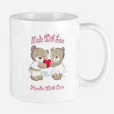 Cute Made With Love Handle Care Teddy Bears Mug