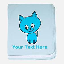 Blue Kitten. Custom Text. baby blanket