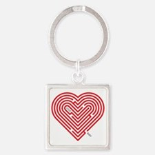 I Love Ruby Square Keychain