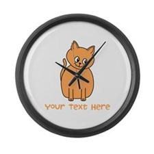 Orange Cat, Custom Text. Large Wall Clock
