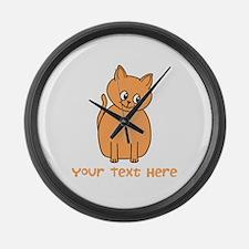 Orange Cat, Custom Text. Large Wall Clock
