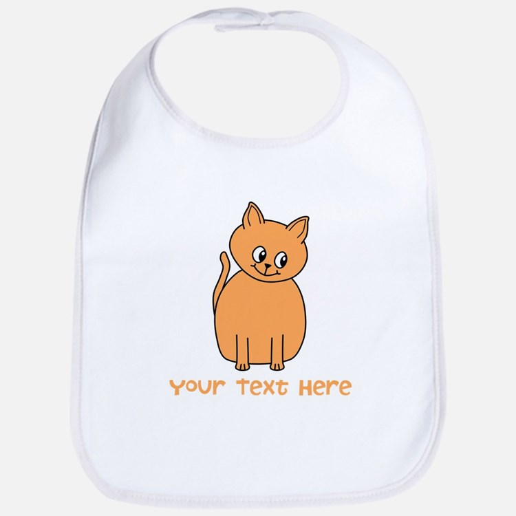 Orange Cat, Custom Text. Bib