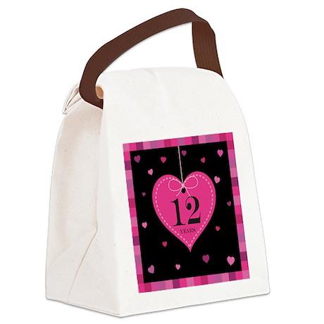 12th Anniversary Heart Canvas Lunch Bag