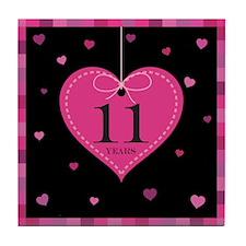 11th Anniversary Heart Tile Coaster