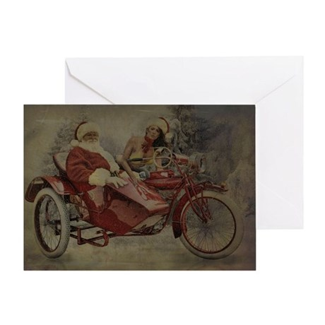 Vintage Biker Santa Christmas Greeting Card