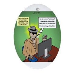 Invisible Man and Catfishing Ornament (Oval)
