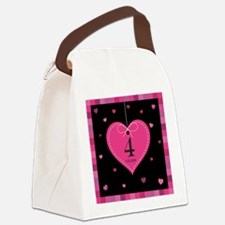 4th Anniversary Heart Canvas Lunch Bag