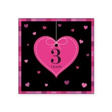 "3rd Anniversary Heart Square Sticker 3"" x 3"""