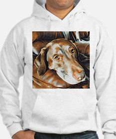 Chocolate Lab, Head on Sofa Hoodie