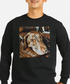 Chocolate Lab, Head on Sofa Long Sleeve T-Shirt