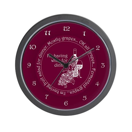 Wine For Dinner Wall Clock
