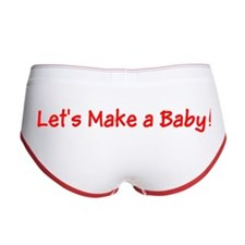 Lets Make a Baby Red Designer Women's Boy Briefs