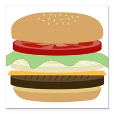 "Cheeseburger Square Car Magnet 3"" x 3"""