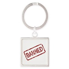 Banned Stamp Square Keychain
