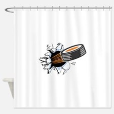 1hocky puck rip thru copy.jpg Shower Curtain