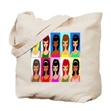 10 faces of girls Tote Bag
