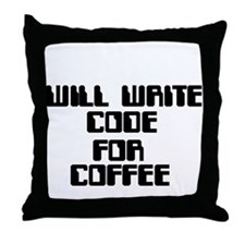 Will write Code for Coffee Throw Pillow