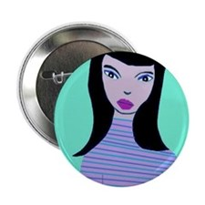 "Magical Brunette in blue mood 2.25"" Button"
