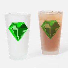 Green 8-bit Emerald Pixel Art Drinking Glass