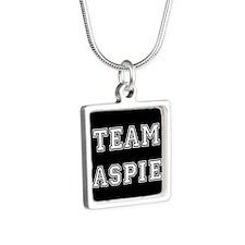 Team Aspie Silver Square Necklace