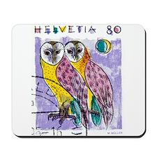 1990 Switzerland Owls Postage Stamp Mousepad