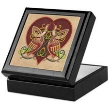 Celtic Birds in a Heart Keepsake Box