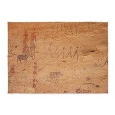 Pictograph of walking figures - 5'x7' Area Rug