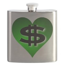 In The Black Dollar Sign Green Heart Flask