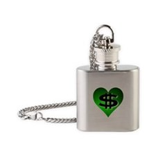 In The Black Dollar Sign Green Heart Flask Necklac