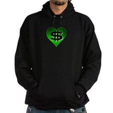 In The Black Dollar Sign Green Heart Hoodie