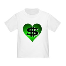 In The Black Dollar Sign Green Heart T