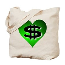 In The Black Dollar Sign Green Heart Tote Bag