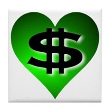 In The Black Dollar Sign Green Heart Tile Coaster