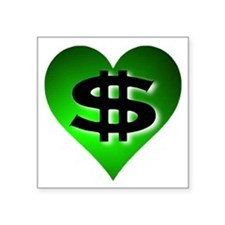 In The Black Dollar Sign Green Heart Square Sticke