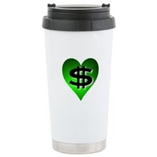 In The Black Dollar Sign Green Heart Travel Mug