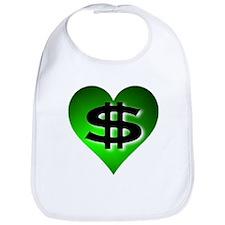 In The Black Dollar Sign Green Heart Bib