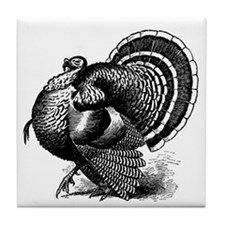 Black and White Turkey in Strut Tile Coaster