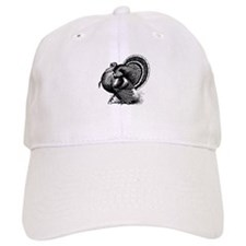Black and White Turkey in Strut Baseball Baseball Cap