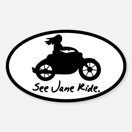 See Jane Ride Oval Decal
