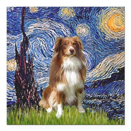 "PILLOW-Starry-Aussie4-K.png Square Car Magnet 3"" x"