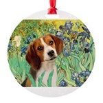TILE-Irises-Beagle1.png Round Ornament