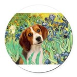 TILE-Irises-Beagle1.png Round Car Magnet
