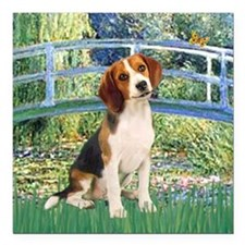 "TILE-Bridge1-Beagle1.png Square Car Magnet 3"" x 3"""
