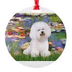 CLK-Lilies2-Bichon1.png Round Ornament