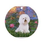MP-LILIES4-Bichon1-nc.png Ornament (Round)