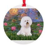 MP-LILIES4-Bichon1-nc.png Round Ornament