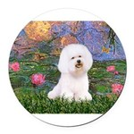 MP-LILIES4-Bichon1-nc.png Round Car Magnet