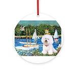 5.5x7.5-Sailboats-Bichon1-C-red.png Ornament (Roun