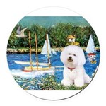5.5x7.5-Sailboats-Bichon1-C-red.png Round Car Magn